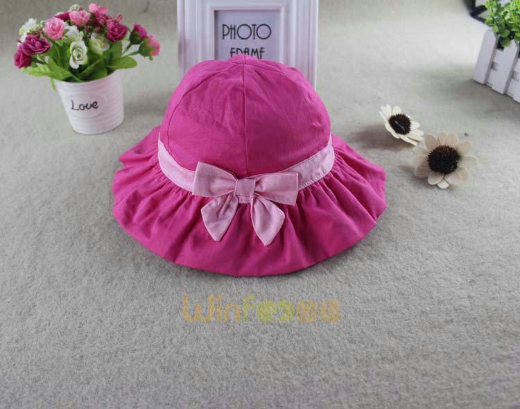 勇发服饰-女孩粉红可爱蝴蝶结折边遮阳帽
