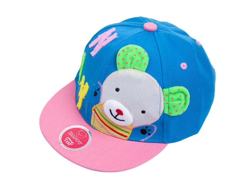 勇发服饰-儿童小熊撞色拼接平板帽定做-RJ053