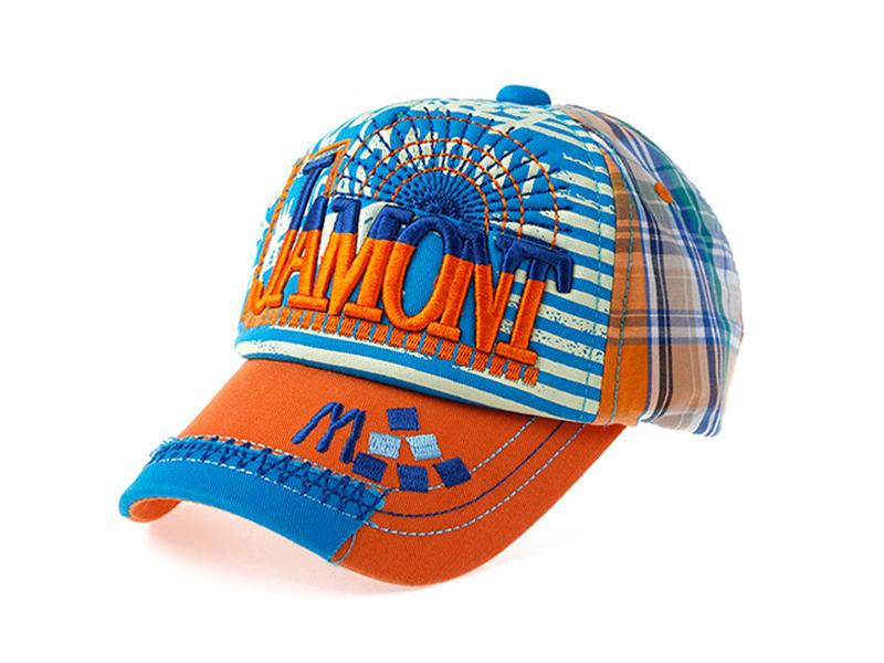 勇发服饰-新款韩版3D绣时尚格子条纹混搭棒球帽 儿童 成人订做-BM092