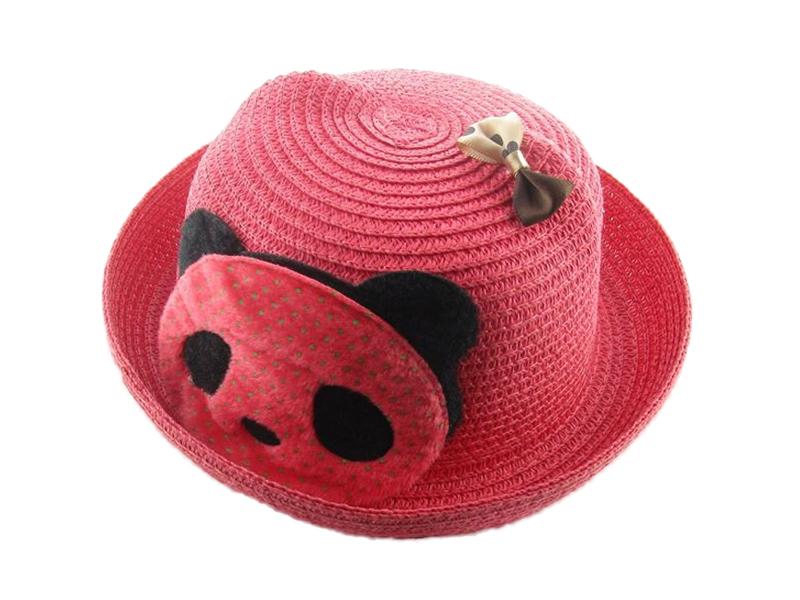 勇发服饰-儿童春夏卡通熊猫蝴蝶结贴布绣沙滩遮阳定型草帽定做 -RZ245