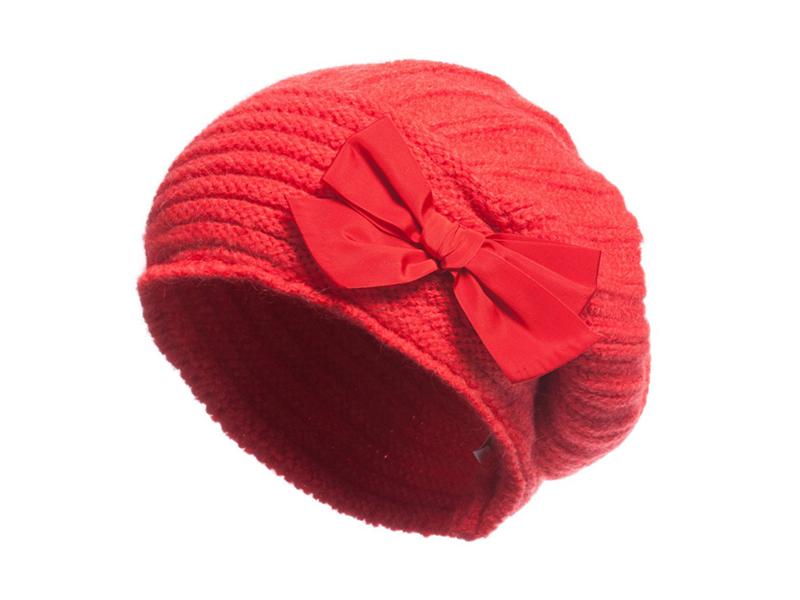 勇发服饰-时尚潮流纯色蝴蝶结儿童时装针织蓓蕾帽 广州订制 -RM322