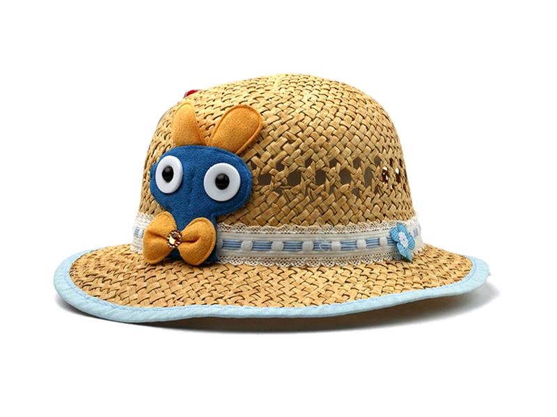勇发服饰-儿童春夏镂空可爱卡通贴布绣花包边遮阳草帽ODM加工-RZ390
