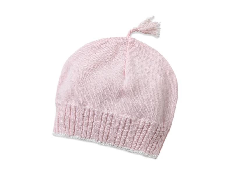勇发服饰-粉红色儿童简约针织帽ODM出口贴牌订做 广州帽厂 -AM070