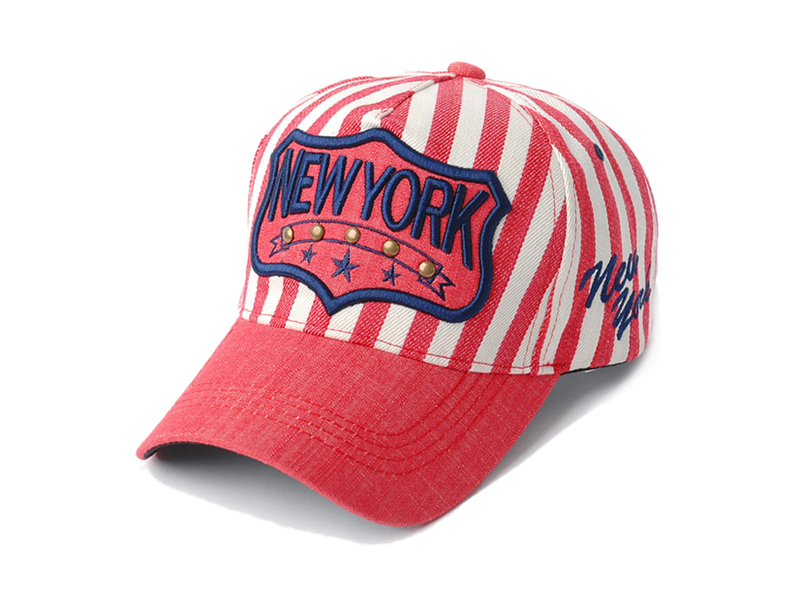 勇发服饰-红白海军条纹3D绣花字母棒球帽贴牌加工ODM定做 -BM154