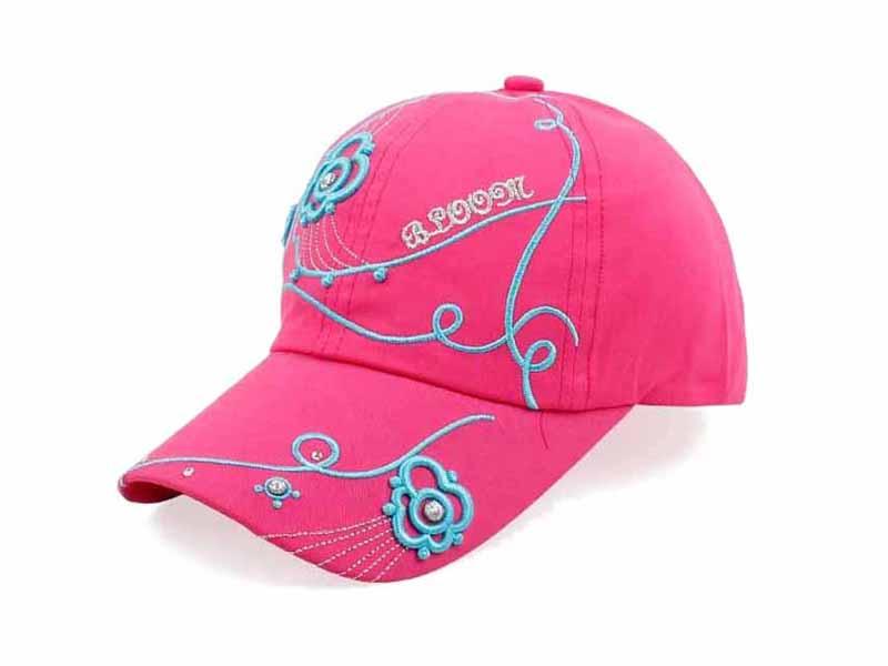 勇发服饰-帽厂专业定做儿童桃红色绣花六页时装棒球帽 春夏新款-BM173