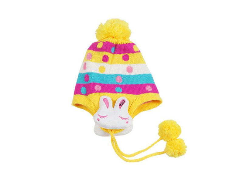 勇发服饰-新款儿童小兔子秋冬保暖条纹毛线针织帽RM509