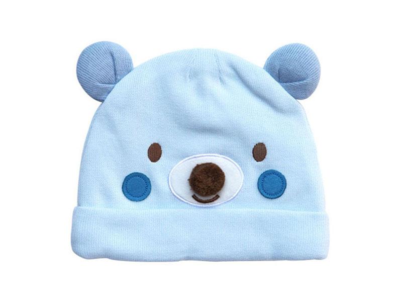 勇发服饰-浅蓝色小熊绣花可爱套头帽AM089