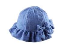 勇发服饰-女孩牛仔折边蝴蝶结遮阳帽定做-RM029