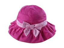 勇发服饰-女孩粉红可爱蝴蝶结折边遮阳帽 边帽定做-RM032