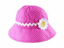 勇发服饰-儿童粉红雏菊小圆点户外遮阳帽定做-RT035