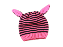 勇发服饰-儿童粉红条纹可爱耳朵针织帽定做-RM042