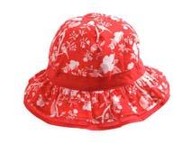 勇发服饰-儿童红色鸟语花香款边帽定做-RM111