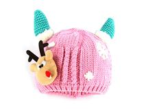 勇发服饰-小耳朵儿童粉色针织帽定做-RM194