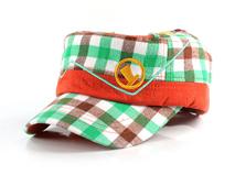 勇发服饰-儿童绿色格子平顶帽订做-RM197