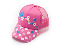 勇发服饰-儿童粉色点点 五页棒球网帽 -RM206