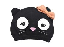 勇发服饰-儿童黑色可爱猫咪蝴蝶结毛线针织套头帽 绣花定做-RM253