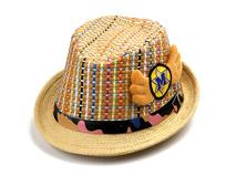 勇发服饰-新款儿童 女士混色草编可爱遮阳定型礼帽定做-RZ239