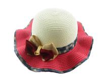 勇发服饰-大蝴蝶结包边格子沙滩遮阳草帽 小清新款定做-RZ247