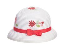 勇发服饰-小清新款儿童丝带蝴蝶结绣花可爱定型草帽 外贸订做-RZ328