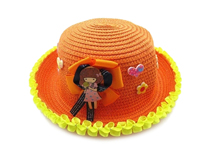 勇发服饰-小清新款小女孩贴布绣花蕾丝花边可爱定型草帽订做-RZ352