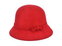 勇发服饰-红色简约蝴蝶结儿童 女士100%羊毛定型礼帽 广州订做-RW339