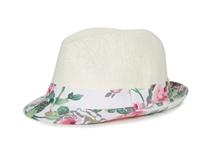 勇发服饰-新款儿童印花花朵定型时装沙滩遮阳草帽 外贸专业出口-RZ358