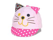 勇发服饰-儿童 婴儿可爱小猫咪条纹绣花 印花 点点鸭舌帽定做 -RM336