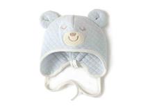 勇发服饰-可爱格子绣花小熊婴儿 儿童套头帽广州加工定做 小清新款 -RM366