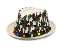 勇发服饰-2015新款迷彩春夏透气柳丁皮带儿童定型礼帽生产订做 -RZ389