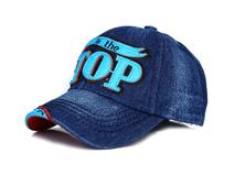 勇发服饰-小清新款牛仔做旧贴布绣花字母棒球帽定制 儿童 成人-BM101
