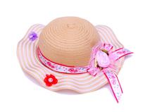 勇发服饰-波浪边女童装饰带花朵条纹夏季遮阳草帽 小清新 新款-RZ391