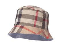 勇发服饰-简约格子正反两用户外遮阳帽 桶帽 儿童 成人款加工定-YM096