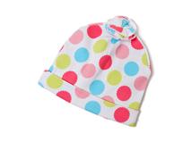 勇发服饰-2015新款彩色圆点折叠花朵婴儿套头帽 全棉 广州帽厂-AM066