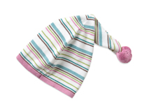 勇发服饰-新款装饰球尖顶条纹儿童套头帽 春夏 婴儿帽子 工厂加工-AM073