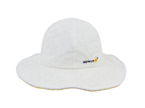 勇发服饰-米白色儿童碎花蝴蝶结新款遮阳帽工厂贴牌订制 田园风-RM446
