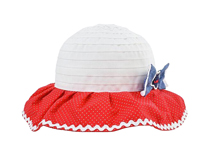 勇发服饰-2015新款小女孩红白色拼接大边渔夫帽 蝴蝶结 夏季-RM447
