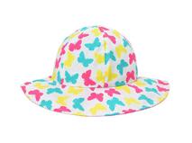 勇发服饰-彩色蝴蝶印花小女孩大边帽 沙滩遮阳 装饰花 广州帽厂 -RM451