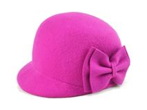 勇发服饰-小女孩羊毛时装帽 桃红色 蝴蝶结 简约 秋冬保暖鸭舌帽-RW455