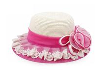 勇发服饰-小女孩新款拼色蕾丝花边夏季户外遮阳草帽 装饰花-RZ408