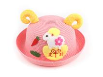 勇发服饰-粉色羊角贴布绣可爱小绵羊定型草帽 21年制帽经验 小孩帽 -RZ420