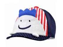 勇发服饰-新款撞色拼接儿童卡通绣花条纹棒球帽FM044